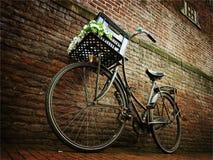 Bicicleta contra la pared de ladrillo Fotos de archivo libres de regalías