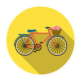 Bicicleta cor-de-rosa com o ícone da cesta no estilo liso isolado no fundo branco Vetor do estoque do símbolo do país de França Imagem de Stock