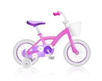 Bicicleta cor-de-rosa realística do bebê Foto de Stock Royalty Free