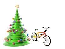 Bicicleta da árvore de Natal Imagem de Stock