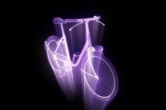 Bicicleta da bicicleta no estilo de Wireframe do holograma Rendição 3D agradável Fotos de Stock