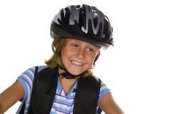Bicicleta da equitação da menina à escola Fotos de Stock