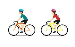 Bicicleta da equitação do homem e da menina ilustração stock