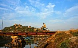 Bicicleta da equitação do homem no campo vietnamiano Imagens de Stock Royalty Free