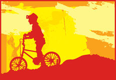 Bicicleta da equitação do menino ilustração stock