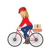 Bicicleta da equitação da moça do serviço de entrega sobre o fundo branco Imagem de Stock Royalty Free