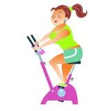 Bicicleta de exercício da menina do desportista Fotografia de Stock Royalty Free