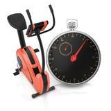 Bicicleta de exercício e cronômetro Foto de Stock Royalty Free