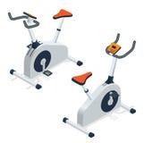 Bicicleta de exercício isolada no fundo branco Ícone da bicicleta de exercício Ilustração isométrica lisa do vetor 3d Imagens de Stock
