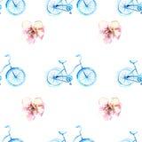 Bicicleta de la acuarela con las flores Imagenes de archivo