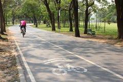 Bicicleta de la bici del hombre en carril de bicicleta Fotos de archivo