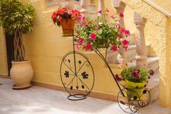 Bicicleta de la vendimia con las flores Imagenes de archivo