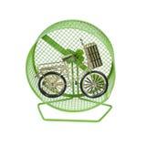 Bicicleta de oro en rueda del ejercicio Foto de archivo libre de regalías