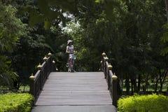 Bicicleta de passeio e biking dos povos dos viajantes em Sri Nakhon Khuean Khan Park e jardim botânico ou parque do kachao do gol Imagens de Stock Royalty Free
