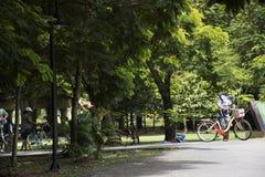 Bicicleta de passeio e biking dos povos dos viajantes no parque do kachao do golpe Fotos de Stock