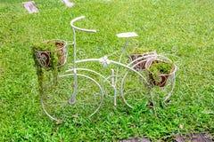 Bicicleta decorativa blanca con las plantas en el parque fotografía de archivo