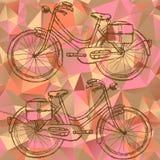Bicicleta del bosquejo en fondo de los triángulos Fotografía de archivo libre de regalías