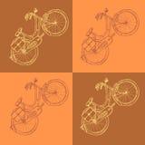Bicicleta del bosquejo, fondo del vintage del vector Imagenes de archivo