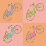 Bicicleta del bosquejo, fondo del vintage del vector Foto de archivo libre de regalías