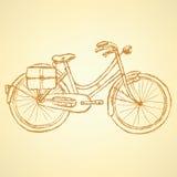 Bicicleta del bosquejo, fondo del vintage del vector Fotos de archivo libres de regalías