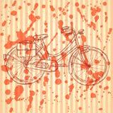Bicicleta del bosquejo, fondo del vintage del vector Imágenes de archivo libres de regalías