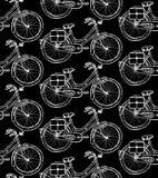 Bicicleta del bosquejo, modelo inconsútil del vintage Foto de archivo libre de regalías