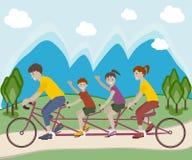 Bicicleta del montar a caballo de la familia Imagen de archivo libre de regalías