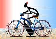 Bicicleta del montar a caballo de la historieta del hombre de la sombra Foto de archivo