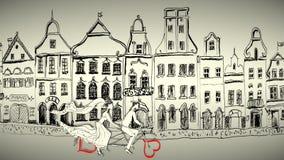 Bicicleta del montar a caballo de novia y del novio ilustración del vector