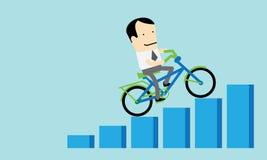 Bicicleta del montar a caballo del hombre para arriba para el éxito empresarial Imágenes de archivo libres de regalías