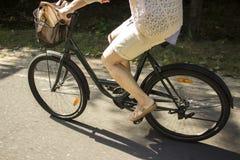 Bicicleta del montar a caballo en el camino forestal Primer de la bicicleta del montar a caballo de la mujer joven Imágenes de archivo libres de regalías