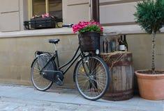 Bicicleta del vintage con las flores Fotografía de archivo libre de regalías