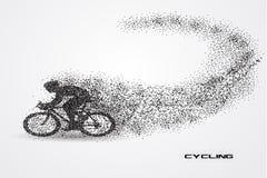 Bicicleta do ciclismo de uma silhueta da partícula Imagens de Stock Royalty Free