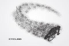 Bicicleta do ciclismo de uma silhueta da partícula Fotografia de Stock Royalty Free