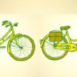 Bicicleta do esboço, fundo do vintage do vetor