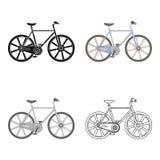 Bicicleta do esporte que compete na trilha Bicicleta da velocidade com rodas reforçadas Único ícone da bicicleta diferente no vet ilustração do vetor