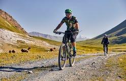 Bicicleta do passeio do homem nas montanhas foto de stock