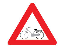 Bicicleta do sinal de estrada Foto de Stock
