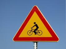 Bicicleta do sinal de tráfego Imagens de Stock Royalty Free