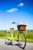 Bicicleta do vintage com as flores na cesta de vime na estrada Imagem de Stock