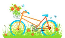 Bicicleta dos desenhos animados no prado do verão ilustração do vetor