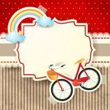 Bicicleta e arco-íris no fundo do cartão Foto de Stock