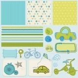 A bicicleta e o carro projetam elementos para o scrapbook Fotos de Stock Royalty Free