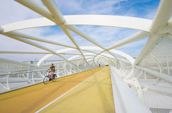Bicicleta e passadiço modernos Imagens de Stock