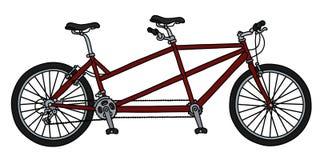 A bicicleta em tandem vermelha Ilustração do Vetor