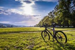 Bicicleta em um campo de grama Fotos de Stock