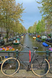Bicicleta em uma ponte em Amsterdão Fotos de Stock Royalty Free