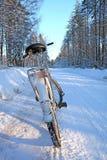 Bicicleta en el camino del invierno fotos de archivo
