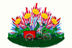 Bicicleta en la floración fotos de archivo