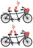 Bicicleta en tándem con los pájaros del amor, vector Foto de archivo libre de regalías